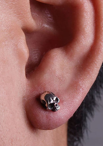 2 Abnormal Sides Single Skull Pierce Earring