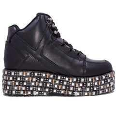 Y.R.U. Qozmo Low Key Platform Sneakers in Black