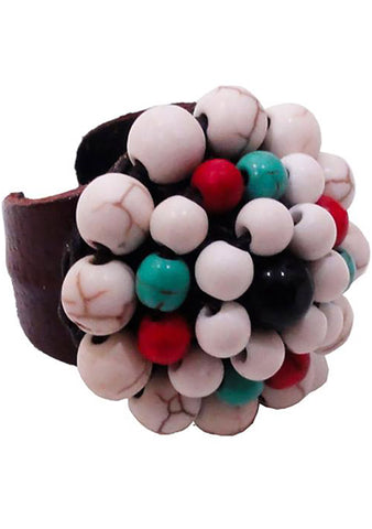 Nakamol Leather Beaded Ring in Fruity White
