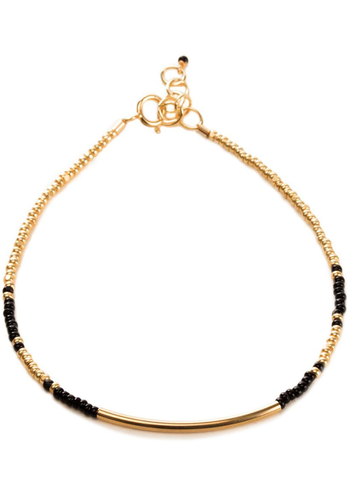DOGEARED Balance Seed Bead Bracelet in Black/Gold