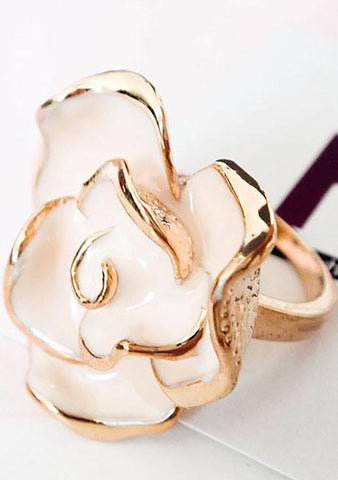 FASHô Rose Enamel Ring in Ivory