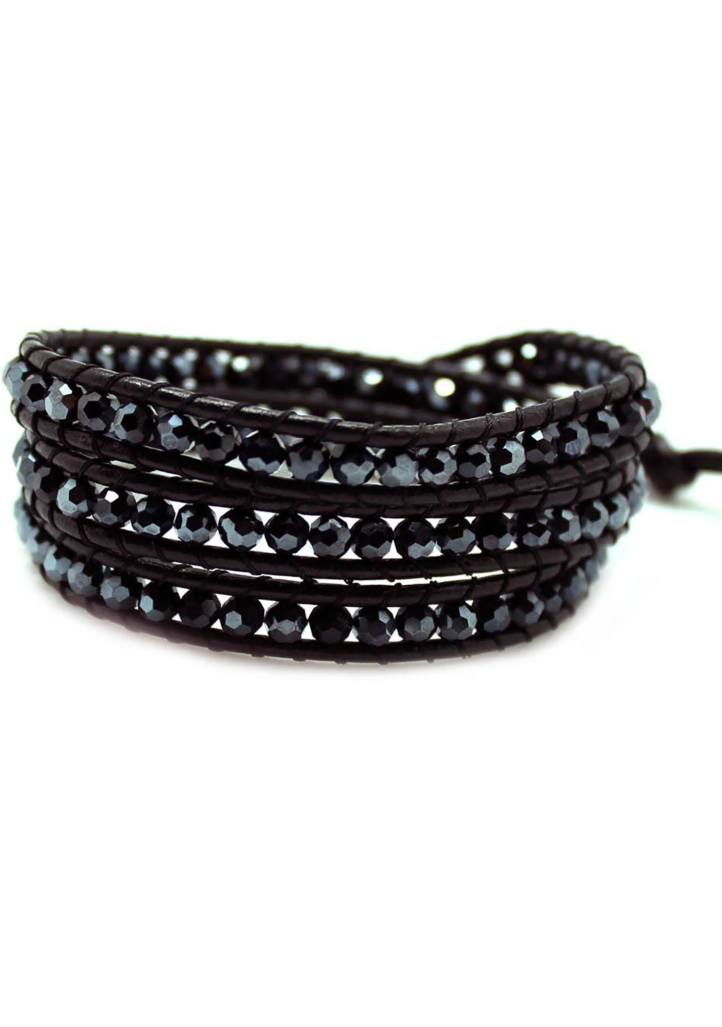 7 LUXE Single Multi Beaded Wrap Bracelet in Black