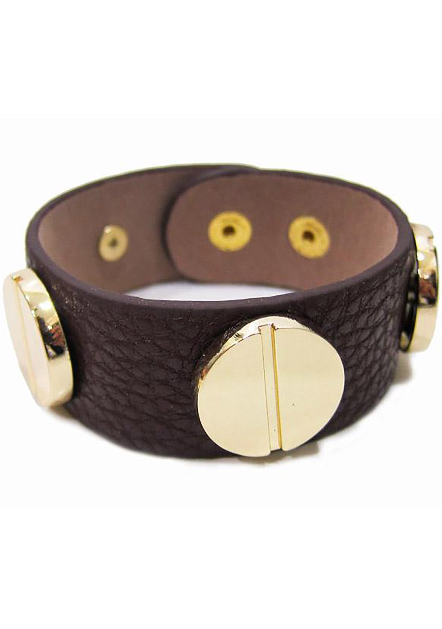 FASHô Large Screw Bracelet in Chocolate/Gold