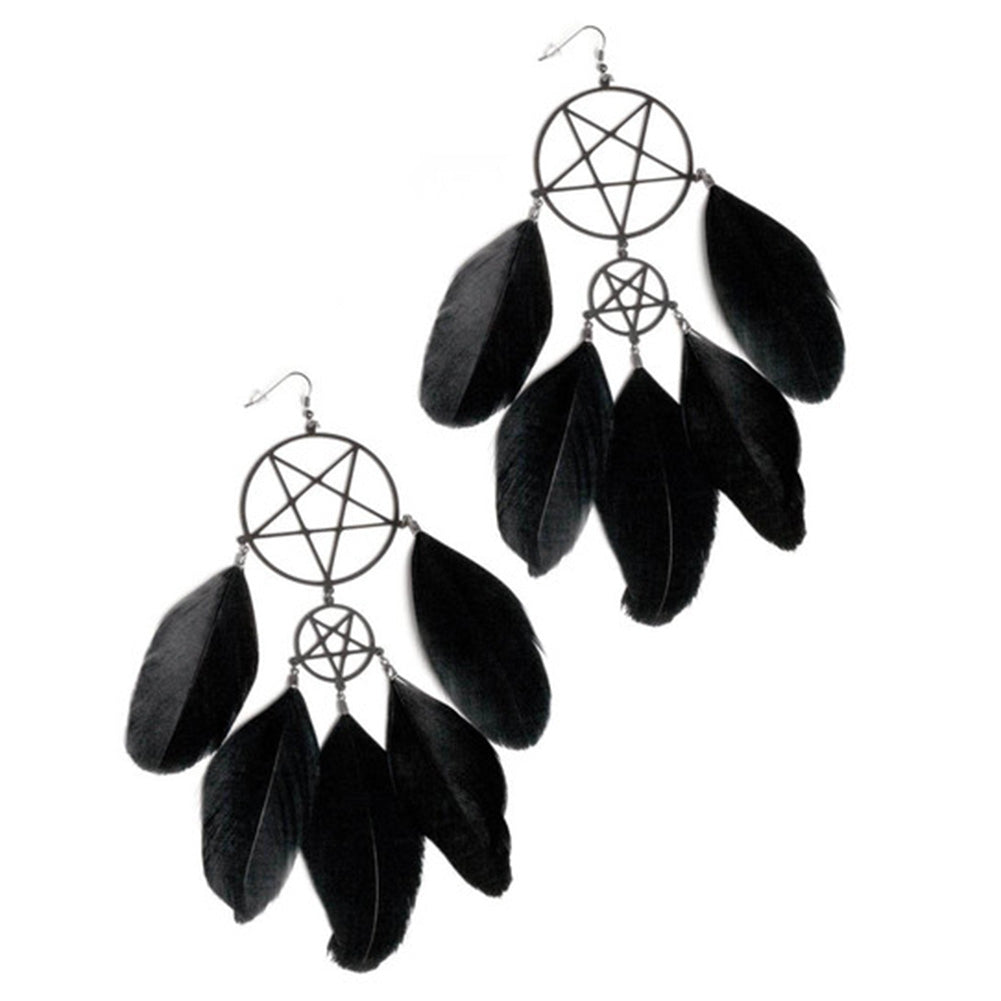 KILL STAR Dream Catcher Drop Earrings in Black