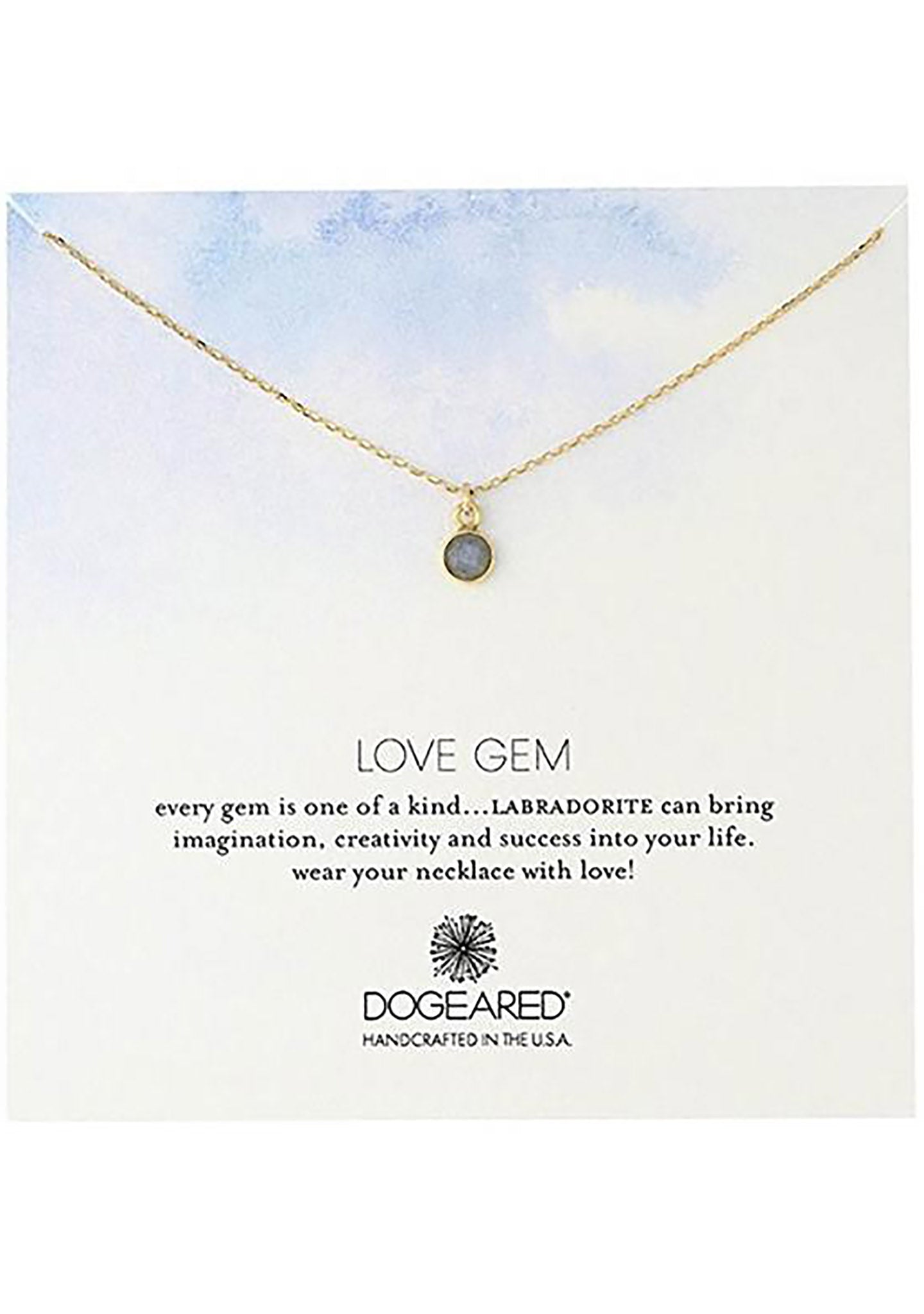 DOGEARED Love Gem Round Bezel Necklace in Labradorite
