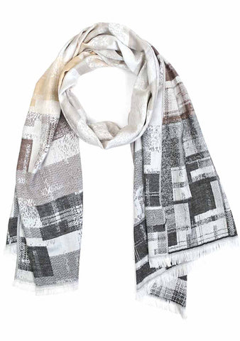 7 LUXE Color Block Scarf in Grey