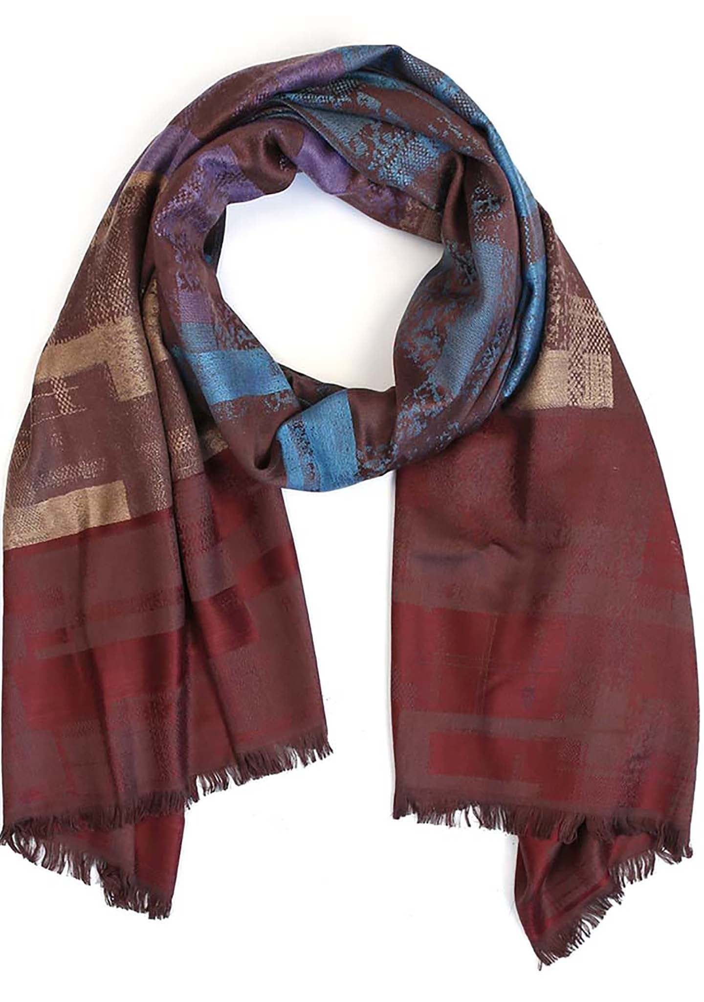 7 LUXE Color Block Scarf in Wine