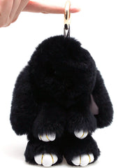 7 LUXE Lazy Bunny Keychain in Black