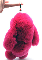 7 LUXE Lazy Bunny Keychain in Pink