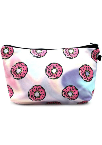 7 LUXE Pastel Rainbow Donuts Cosmetic Bag