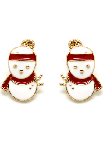7 LUXE Christmas Snowman Post Stud Earring