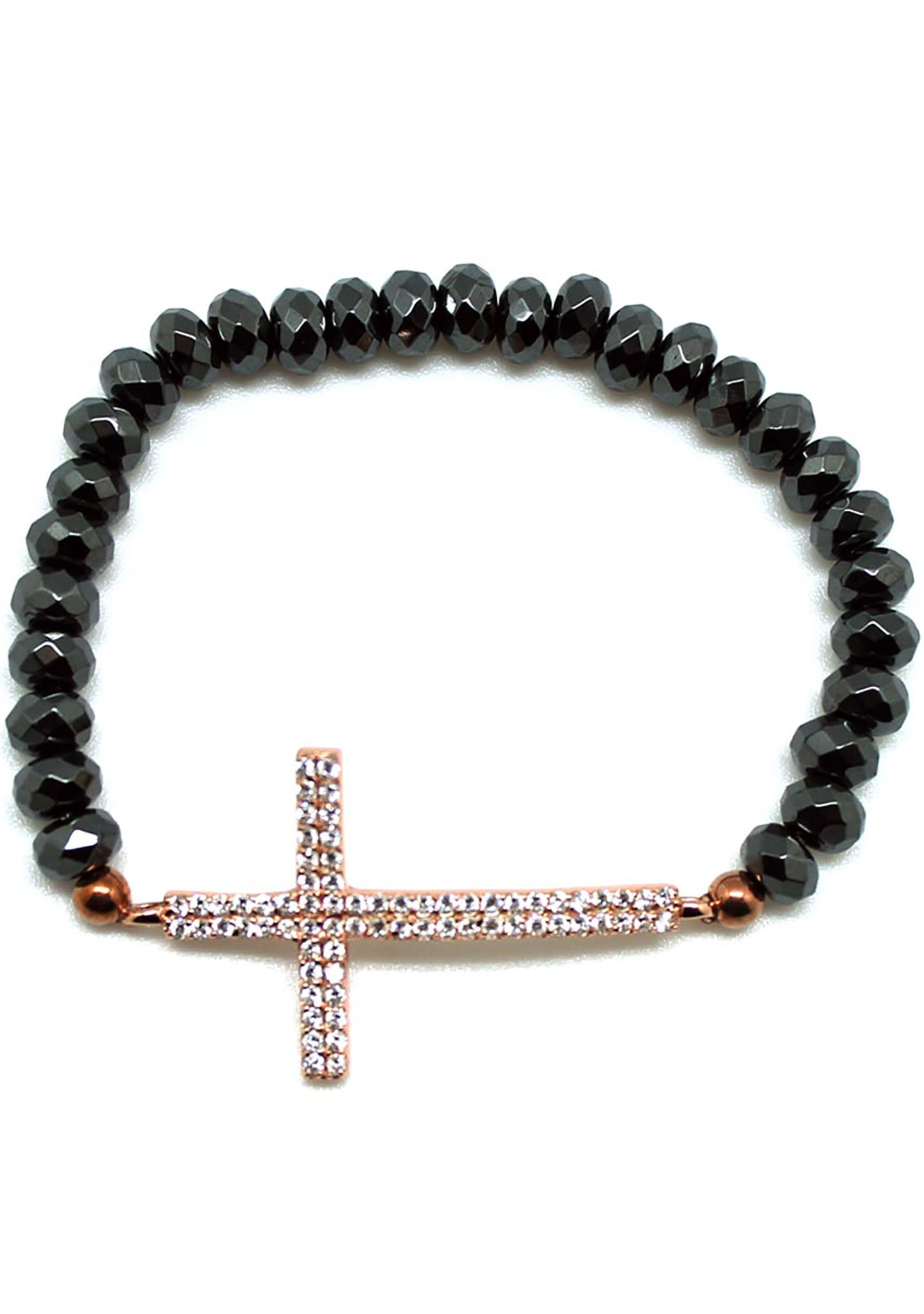 7 LUXE Crystal Cross Beaded Bracelet in Gunmetal