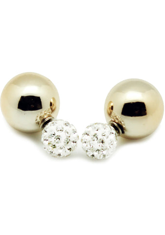 7 LUXE Crystal Disco Ball Post Stud Earring in White/Gold