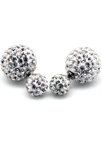 7 LUXE Crystal Disco Ball Post Stud Earring in White