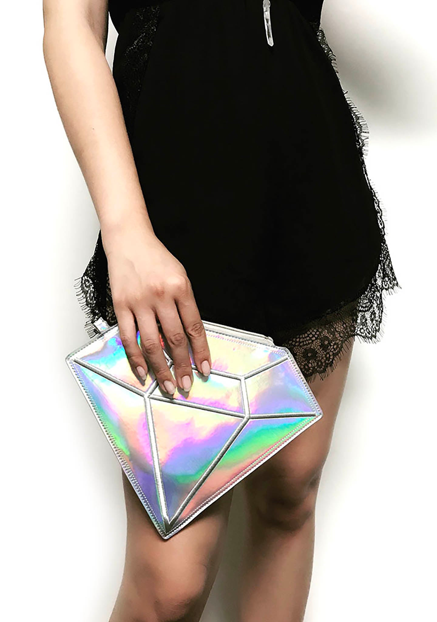 7 LUXE Diamond Hologram Wristlet Bag in Silver