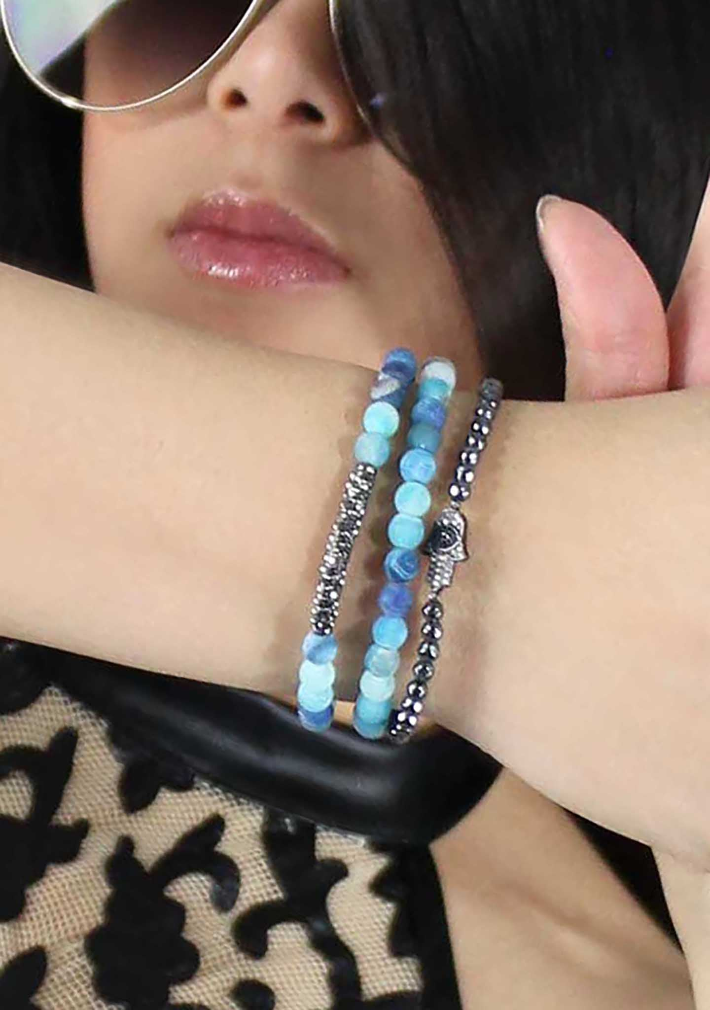 7 LUXE Divine Hamsa Bracelet Set in Blue