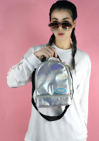 Iridescent Rockin' Candy Lunch Silver Tote