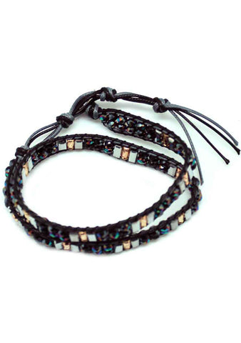 7 LUXE X Katie Soleil Double Wrap Beaded Bracelet in Black/Multi