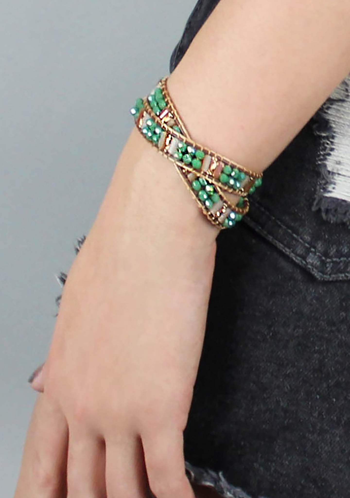 7 LUXE Lexington Beaded Double Wrap Bracelet