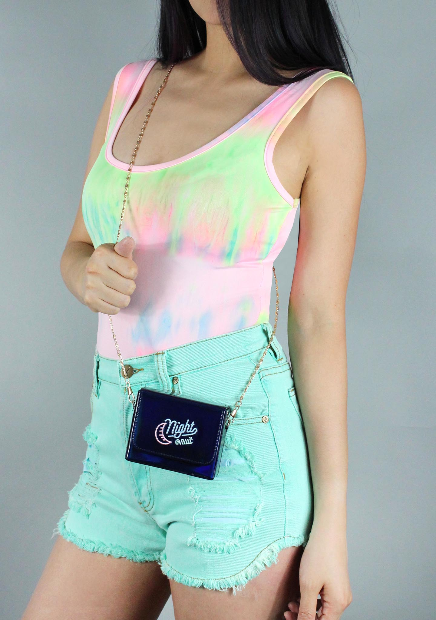 7 LUXE Night Out Crossbody Bag in Holographic Navy