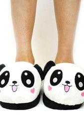 7 LUXE Panda Plush Slippers in White