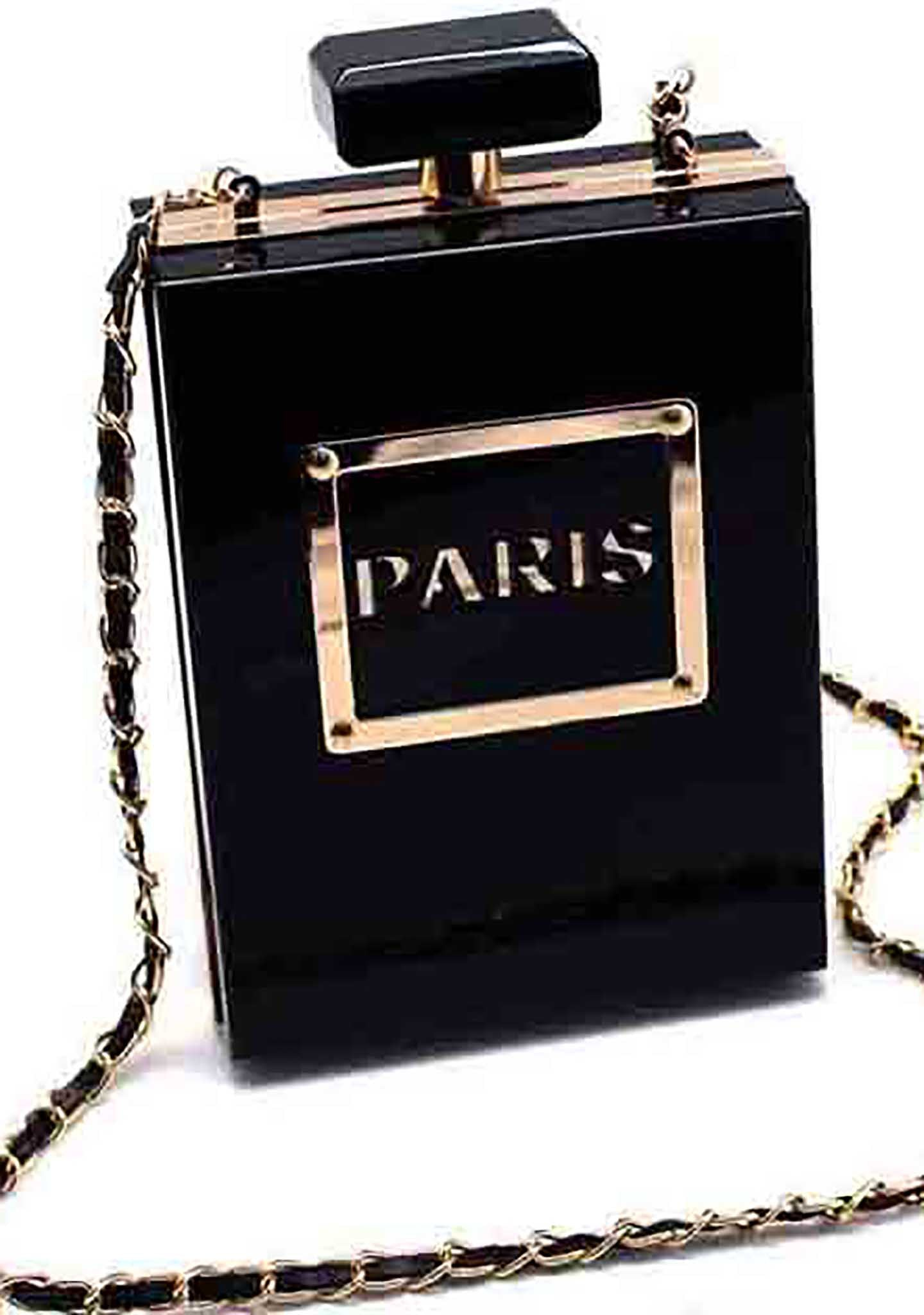 7 LUXE Paris Perfume Crossbody Clutch Bag in Black