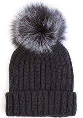 7 LUXE Pom Knit Beanie in Black