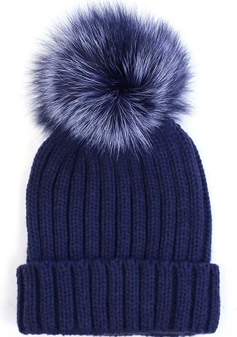 7 LUXE Pom Knit Beanie in Navy