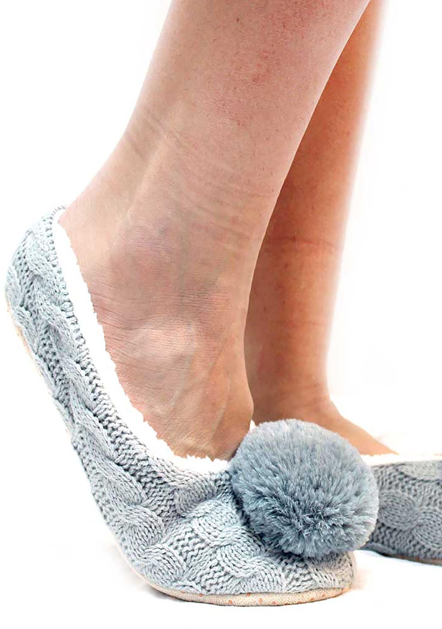 7 LUXE Pom Knit Woven Slippers in Grey