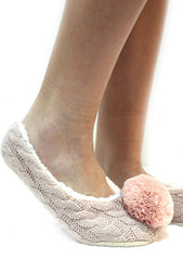 7 LUXE Pom Knit Woven Slippers in Pink