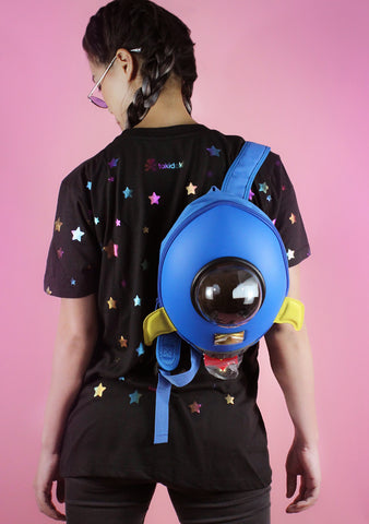 Space Rocket Blast Backpack in Blue