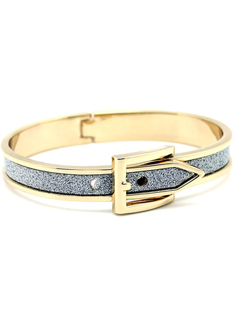 7 LUXE Sparkling Buckle Bangle in Gold/Silver