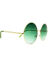 7 LUXE Sunrise Fade Round Sunglasses Gold/Green