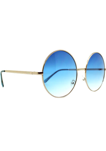 7 LUXE Sunrise Fade Round Sunglasses Silver/Blue