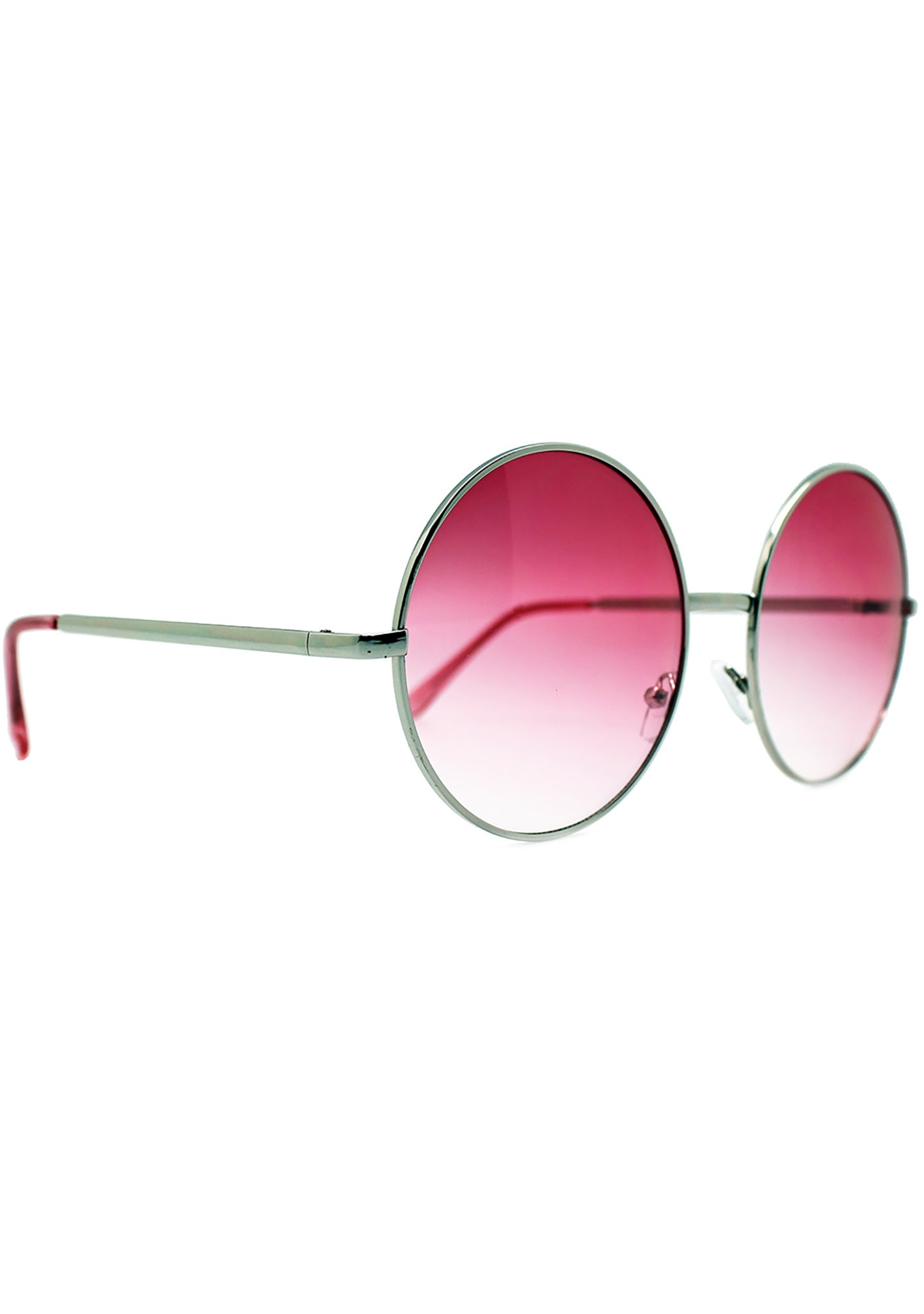 7 LUXE Sunrise Fade Round Sunglasses Silver/Red