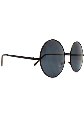 7 LUXE Sunrise Round Sunglasses in Black