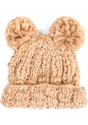 7 LUXE Teddy Bear Knit Beanie in Camel
