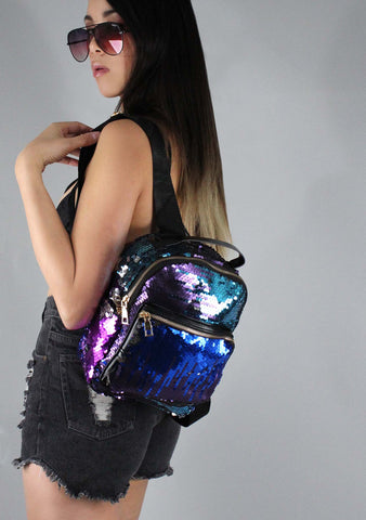 7 LUXE The Bling Sequins Mini Backpack in Blue and Purple