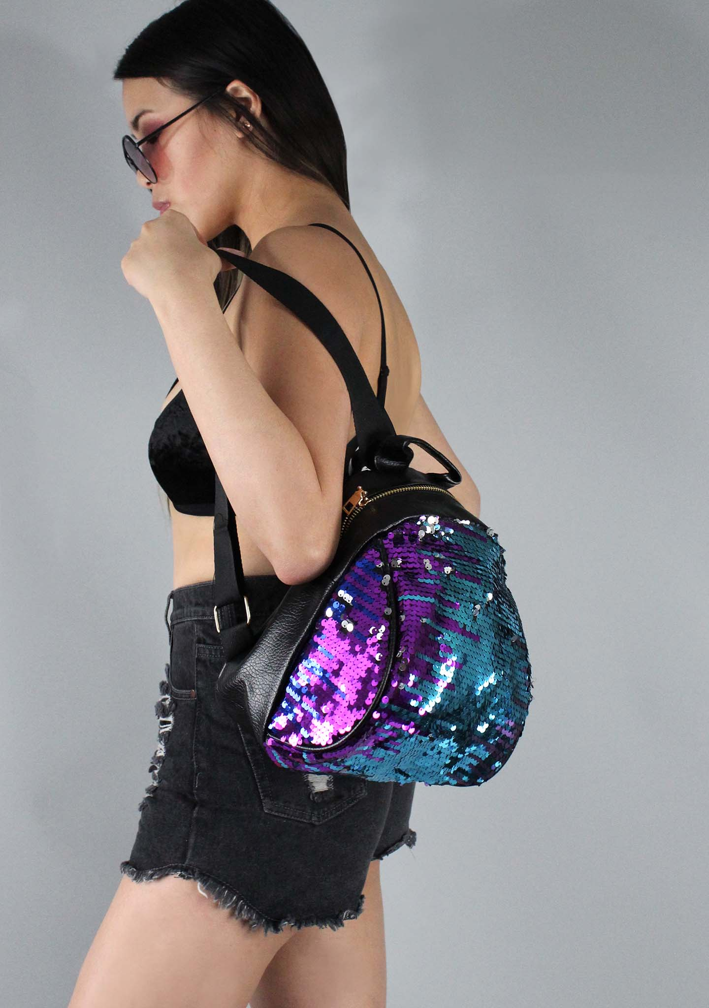 7 LUXE The Glitz Sequins Mini Backpack in Blue/Purple