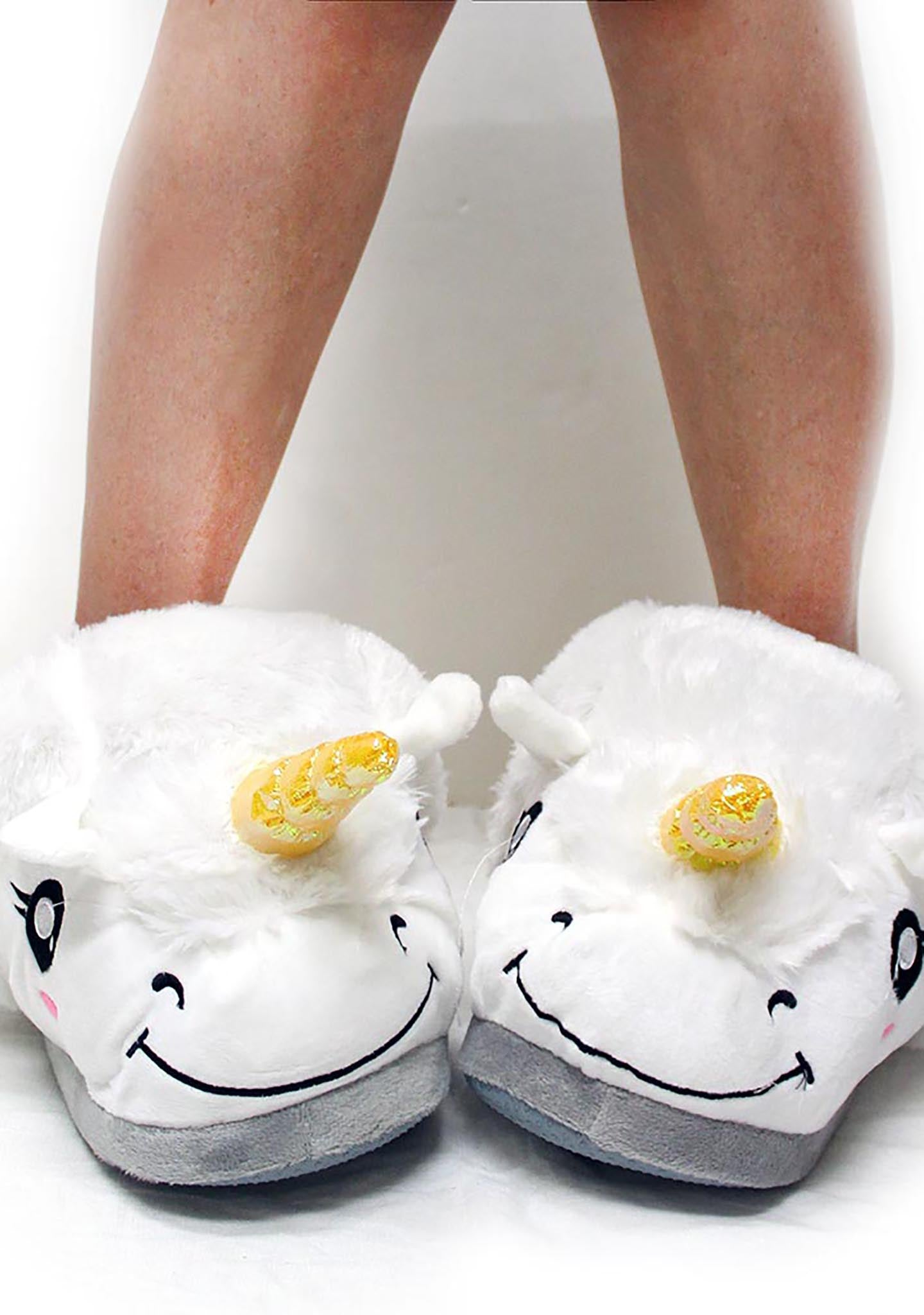 7 LUXE Unicorn Plush Slippers in White
