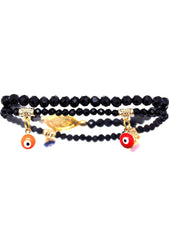 7 LUXE Crystal Evil Eye Beaded Bracelet Set in Black