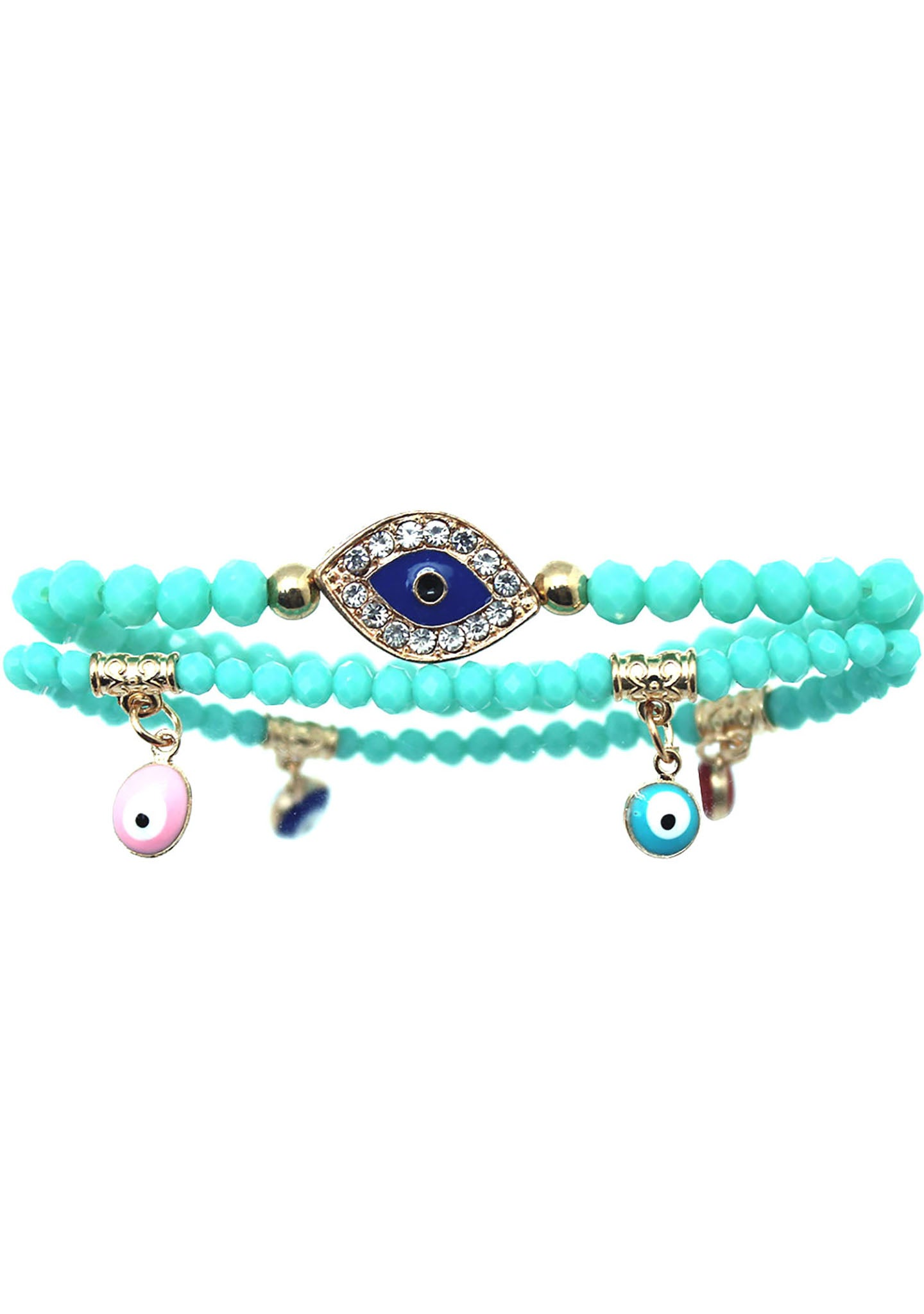 7 LUXE Crystal Evil Eye Beaded Bracelet Set in Turquoise