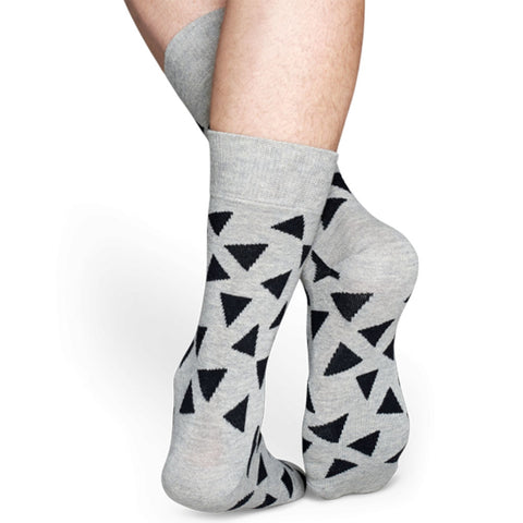 Happy Socks Triangle Socks in Grey/Black