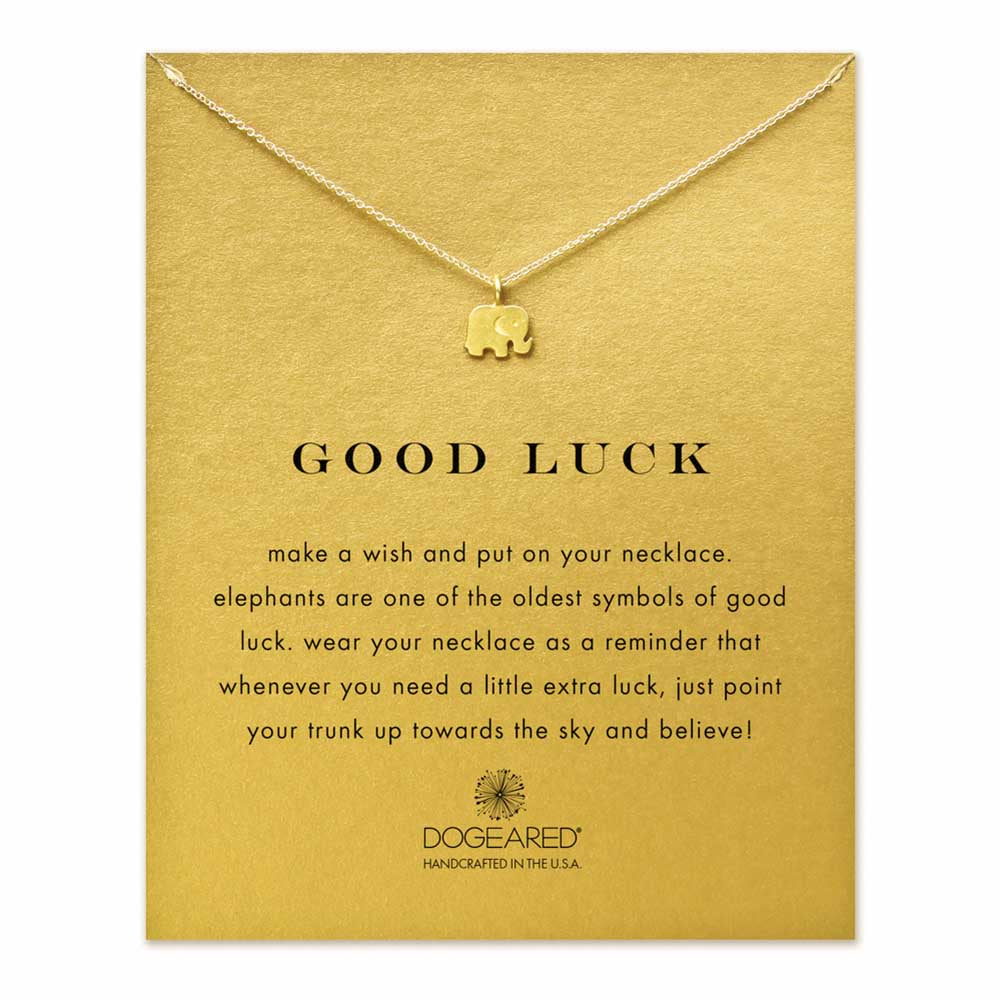 DOGEARED Good Luck Elephant Necklace in Gold