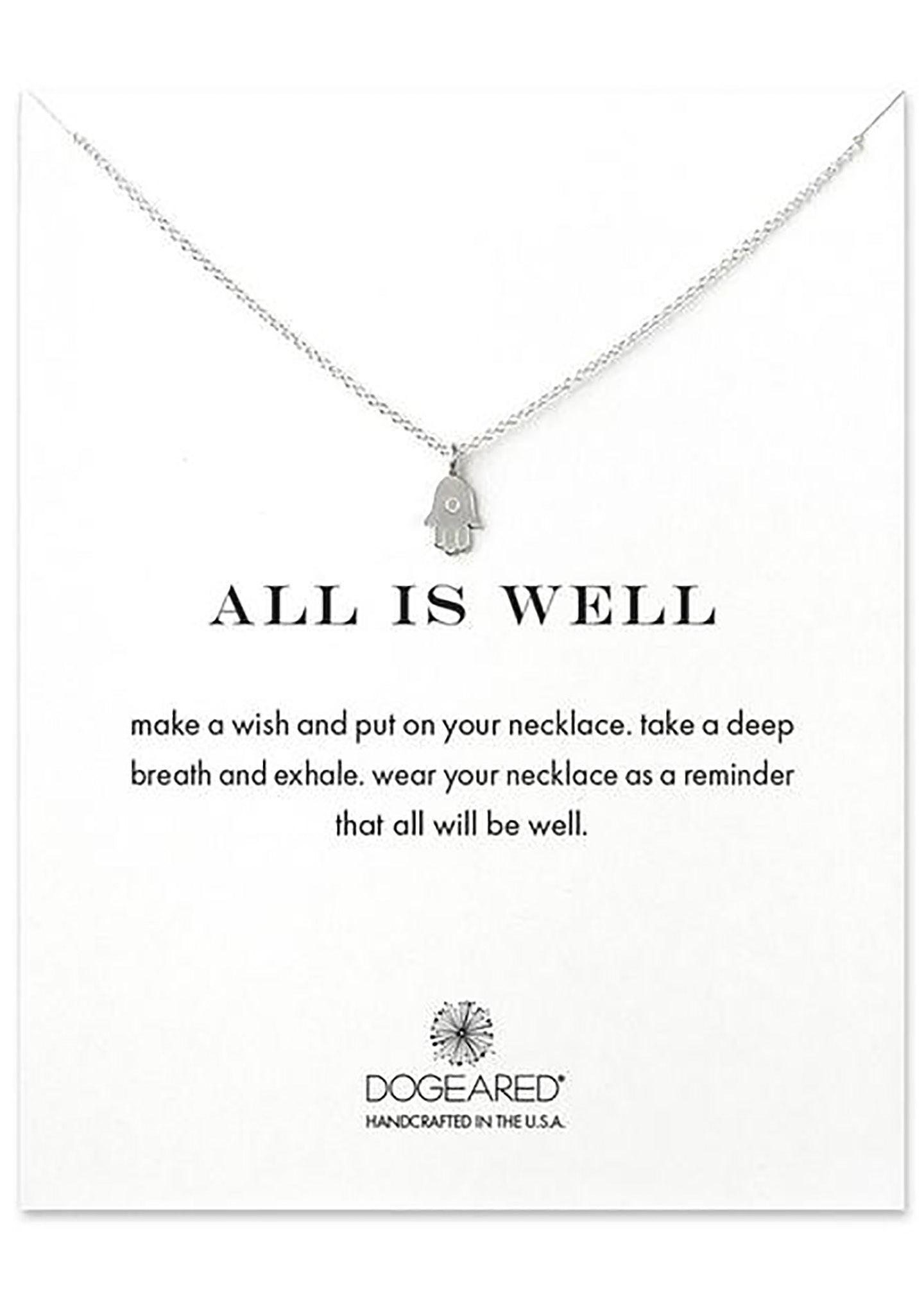 DOGEARED All Is Well Hamsa Necklace in Silver