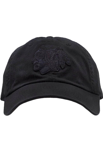 American Needle CHI Blackhaws Blue Line Tonal Hat in Black