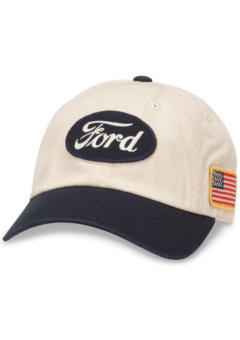 merican Needle Ford United Slouch Baseball Hat in Ivory