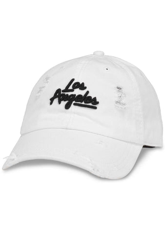 American Needle Los Angeles Shred Slouch Raglan Hat in White