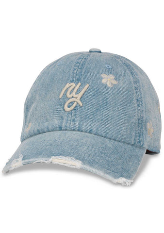American Needle New York Daisy Round Up Baseball Hat in Light Denim