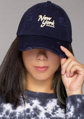 New York Shred Slouch Raglan Hat in Navy